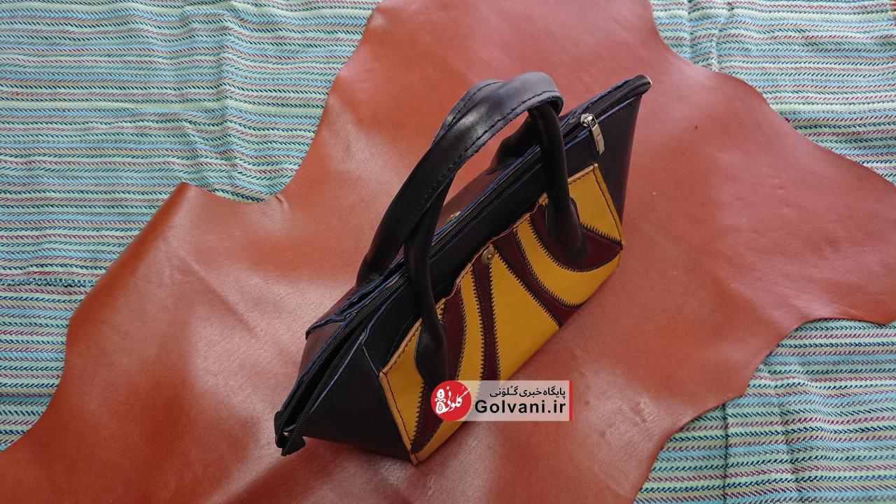 کیف تکه دوزی شده زنانه از چرم گاو