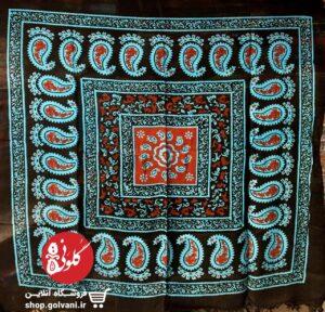 روسری سنتی طرح کتیبه فیروزهای